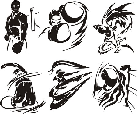 boxing glove: Boxing and  Karate. Extreme sport. illustration. Vinyl-ready.