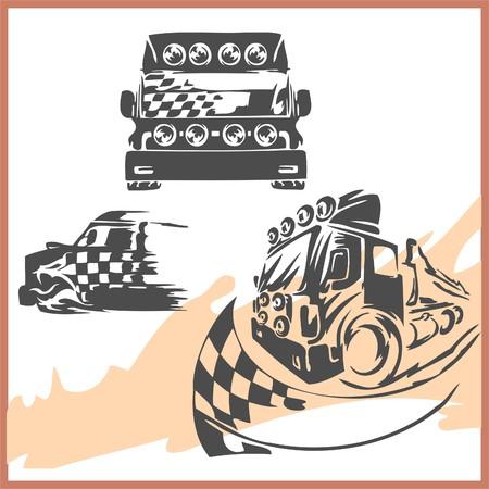 autosport: 4x4 Off-Road Symbol.  Illusration .Vinyl-Ready.