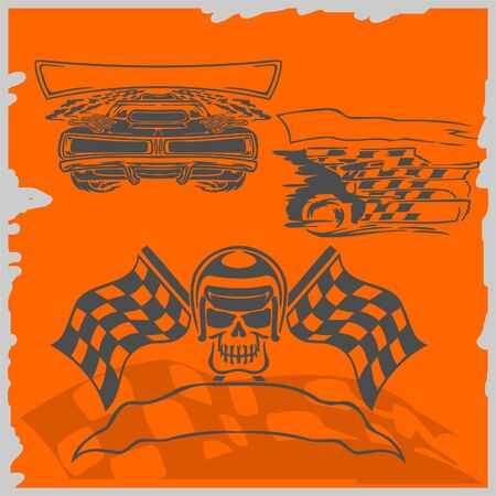 Street Racing Cars - series  images. Ready to Cut. Vector