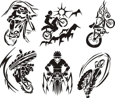 stunts: Ragazzo in bicicletta. Sport estremo.  illustrazione. Vinile.