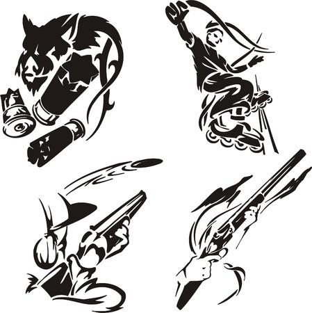 daring: Shot. Extreme sport.  illustration. Vinyl-ready.  Illustration