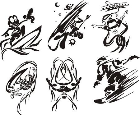 slalom: Extreme sport.  illustration. Vinyl-ready.