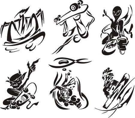 Skateboard. Extreme sport.  illustration. Vinyl-ready. Stock Vector - 7099949