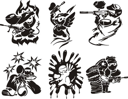 Paintball. Sport extrême.  illustration. Vinyl-ready.