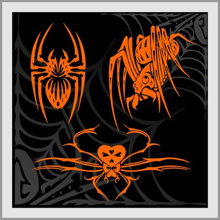Web and Spider - Tattoo Design. Ready for vinyl cutting.  Vector