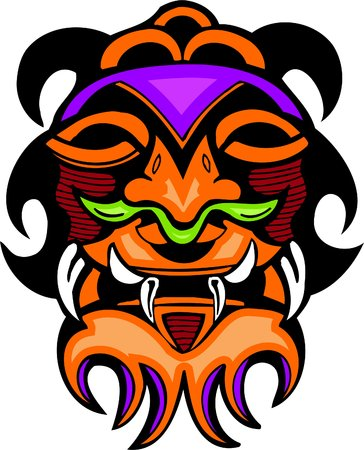 wooden mask: Ancient mask. Vector image - vinyl-ready.