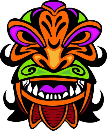 humanly: Ancient mask. Vector image - vinyl-ready.