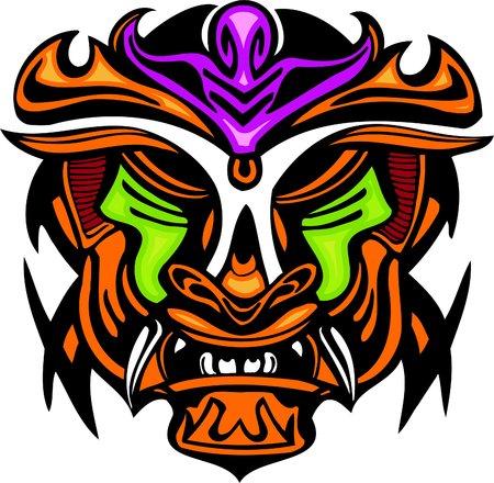 black gods: Ancient mask. Vector image - vinyl-ready.