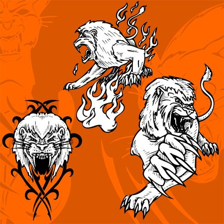 Lion and the Flame.Predators.  Vector