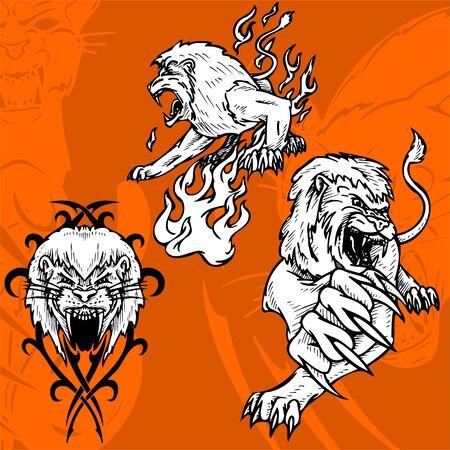 agression: Lion et le Flame.Predators.
