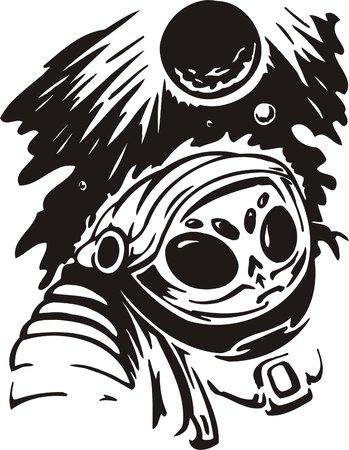 survival: The alien in a survival suit and a helmet studies planets.