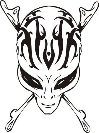 Cráneo y huesos del extranjero - piratas de espacio.