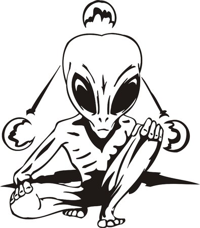 The alien is engaged in yoga.  Vector