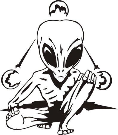 alien head: The alien is engaged in yoga.