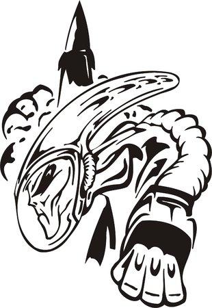 survival: The alien in a survival suit and a pressure helmet. Illustration