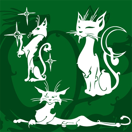 Beautiful Cats.Vector Illustration.Vinyl Ready. Vector