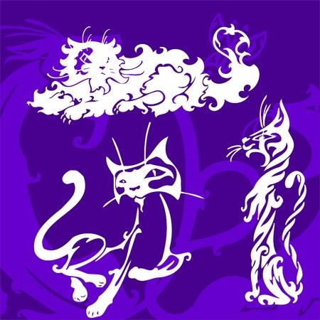 Beautiful Cats.Vector Illustration.Vinyl Ready. Vector