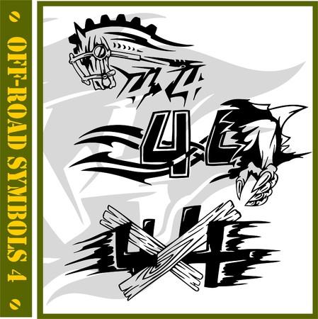 autosport: 4x4 Off-Road Symbol. (Vinyl-Ready). Illustration