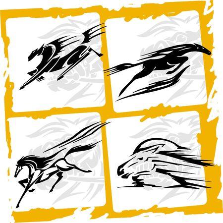 racehorse: Four horses, beautiful jump.Racing Horses.Vinyl Ready.