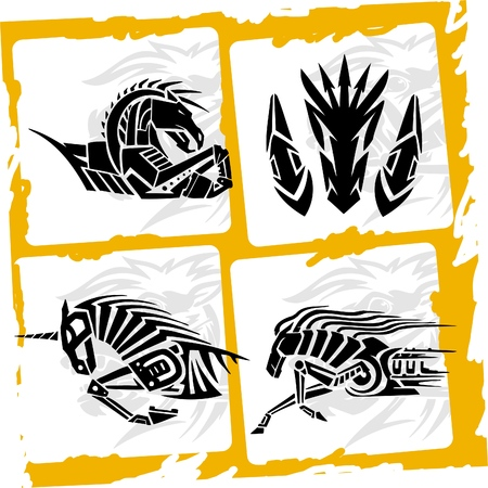zebra heads: Zebra Unicorn and Iron Horse.Racing Horses..Vinyl Ready.