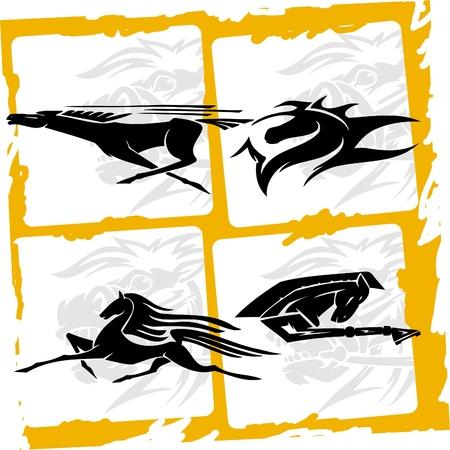 hooves: Quattro cavalli. Racing Horses.Vinyl pronto. Vettoriali