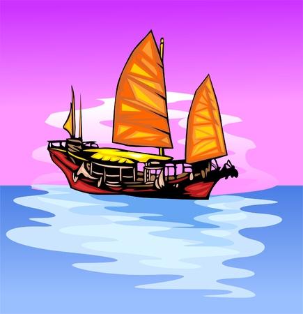 Schiff mit einem Segel.Vinyl-Ready.