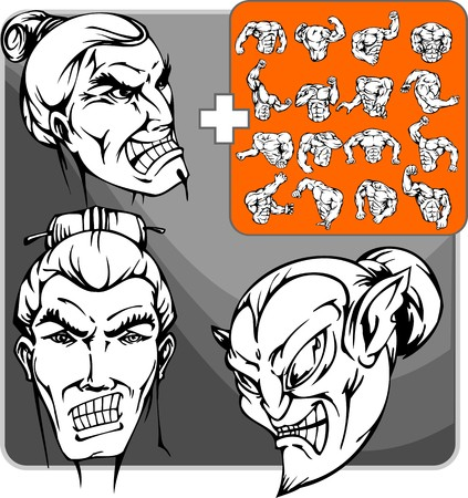 muscule: Dark japanese with national hairstyle and stick for support hair Illustration