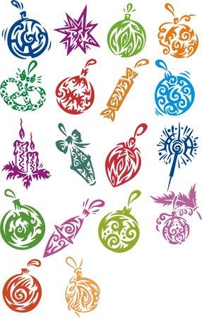 pinetree: Decoraciones de Navidad. Conjunto de im�genes de color.  Vectores