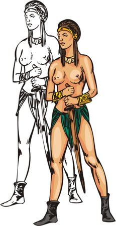topless women: Topless amazonian with sword. Amazons.   illustration - color   bw versions. Illustration