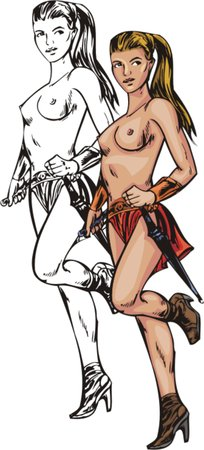 topless women: Sexy topless blonde amazonian. Amazons. illustration - color   bw versions.