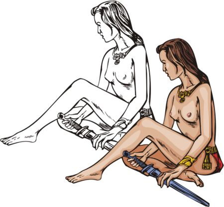 topless women: Sitting topless amazonian. Amazons.   illustration - color   bw versions.