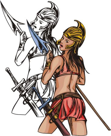 Amazonian in gold helmet. Amazons.  illustration - color   bw versions. Vector