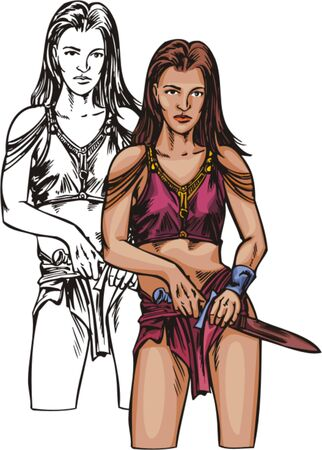 Amazonian with knife. Amazons. illustration - color   bw versions. Vector