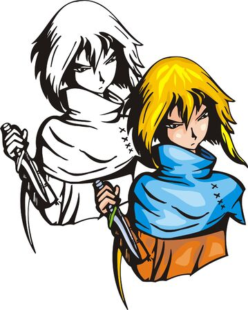assassin: Assassin with knife.Anime fighters. Vector illustration - color + bw versions.