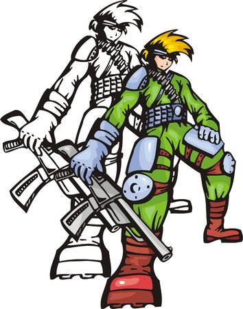machine-gun: Fighter in armour with machinegun. Anime fighters. Vector illustration - color + bw versions. Stock Illustratie