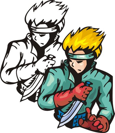 assassin: Assassin with knife. Anime fighters. Vector illustration - color + bw versions.