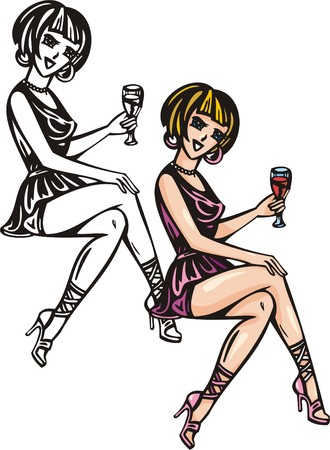 marriageable: Beautiful girl having crisscrossed legs have drunk wine.