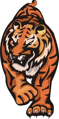 freedom logo: Tiger before a jump. Big cats.   Illustration
