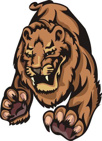 Tigre furioso en un salto. Grandes felinos.  Foto de archivo - 7923194