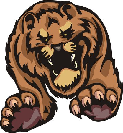 Furious tiger in a jump. Big cats. Stock Vector - 7923219