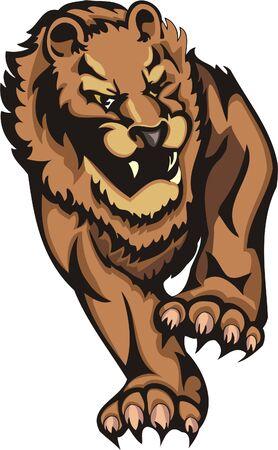 Aggressive walking lion.Big cats. Stock Vector - 7923181
