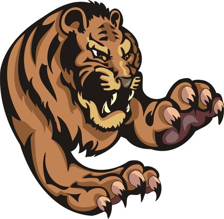 Furious tiger in a jump. Big cats.   Vector