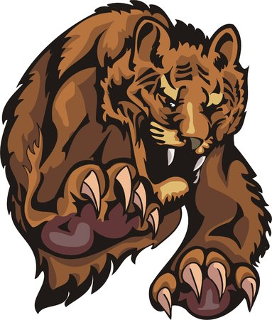 Furious tiger in a jump. Big cats. Stock Vector - 7923195