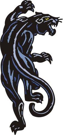 freedom logo: Pantera azul oscuro de Black - la vista superior. Grandes felinos.  Vectores