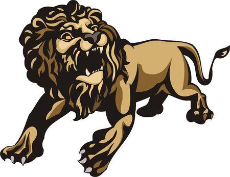 Aggressive walking lion.Big cats  Stock Vector - 7923217