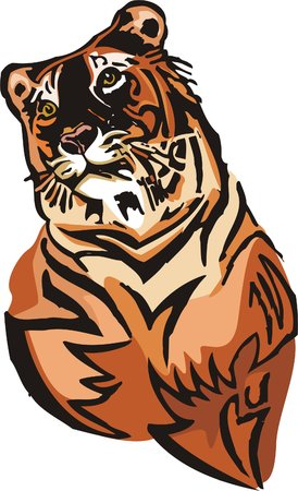 artful: The orange tiger lays. Big cats.  Illustration