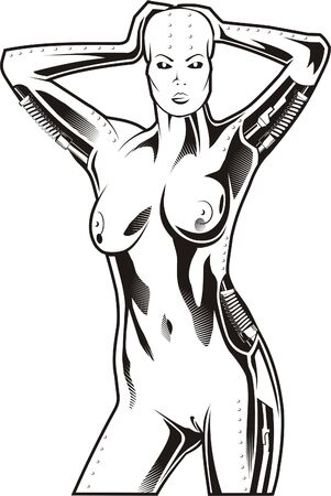 fragmented: Steel girl.Biomechanics. Ready for vinyl cutting.