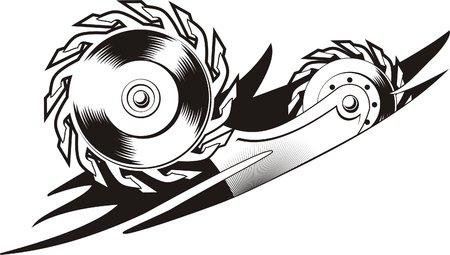 Disc saw.Biomechanics. Ready for vinyl cutting. Vector