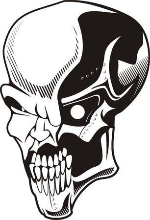 Skull.Biomechanics. Ready for vinyl cutting. Vector