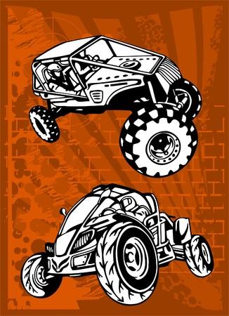 summer tires: Buggy y Bike. Listo de Illustration.Vinyl.  Vectores